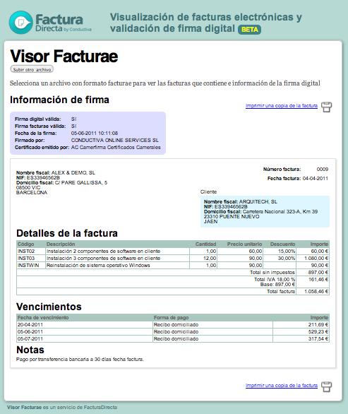 facturadirecta  herramienta gratuita para visualizar