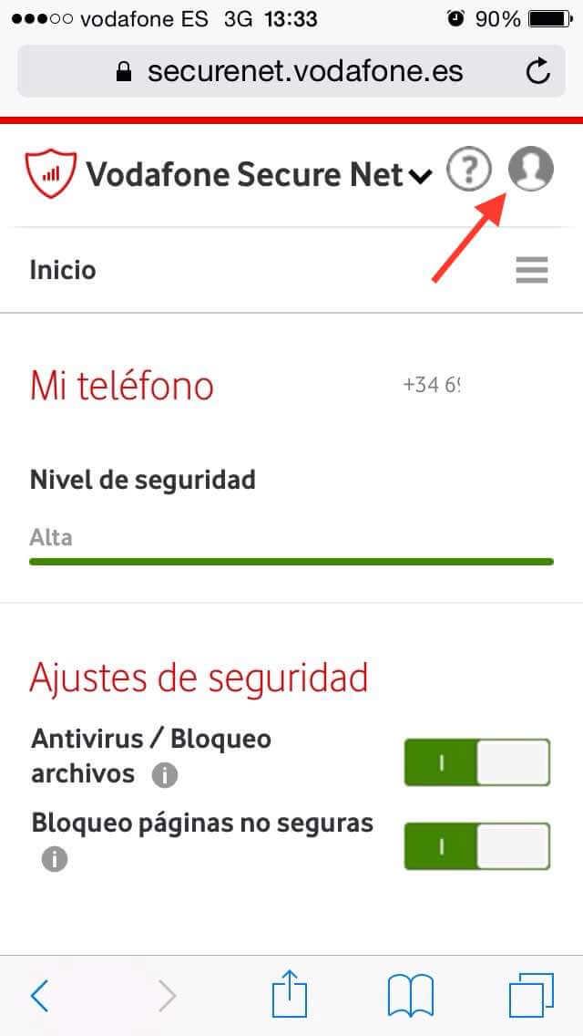Vodafone Secure Net - Página de inicio