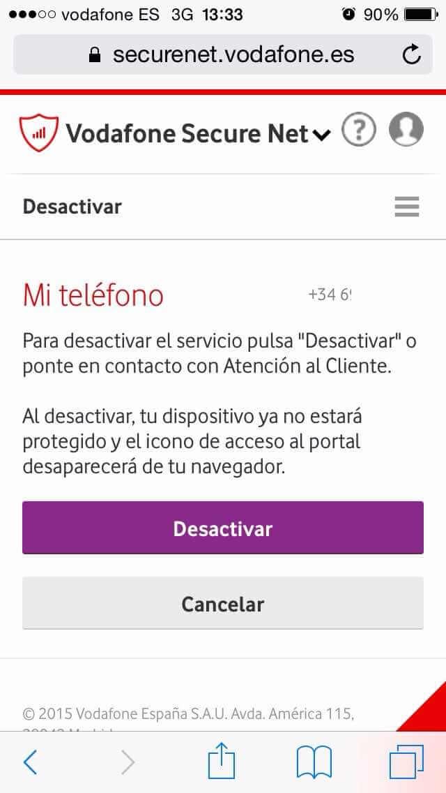 Vodafone Secure Net - Desactivación del servicio
