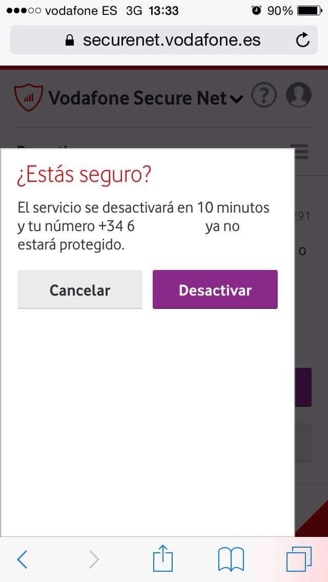 Vodafone Secure Net - Confirmar desactivación del servicio