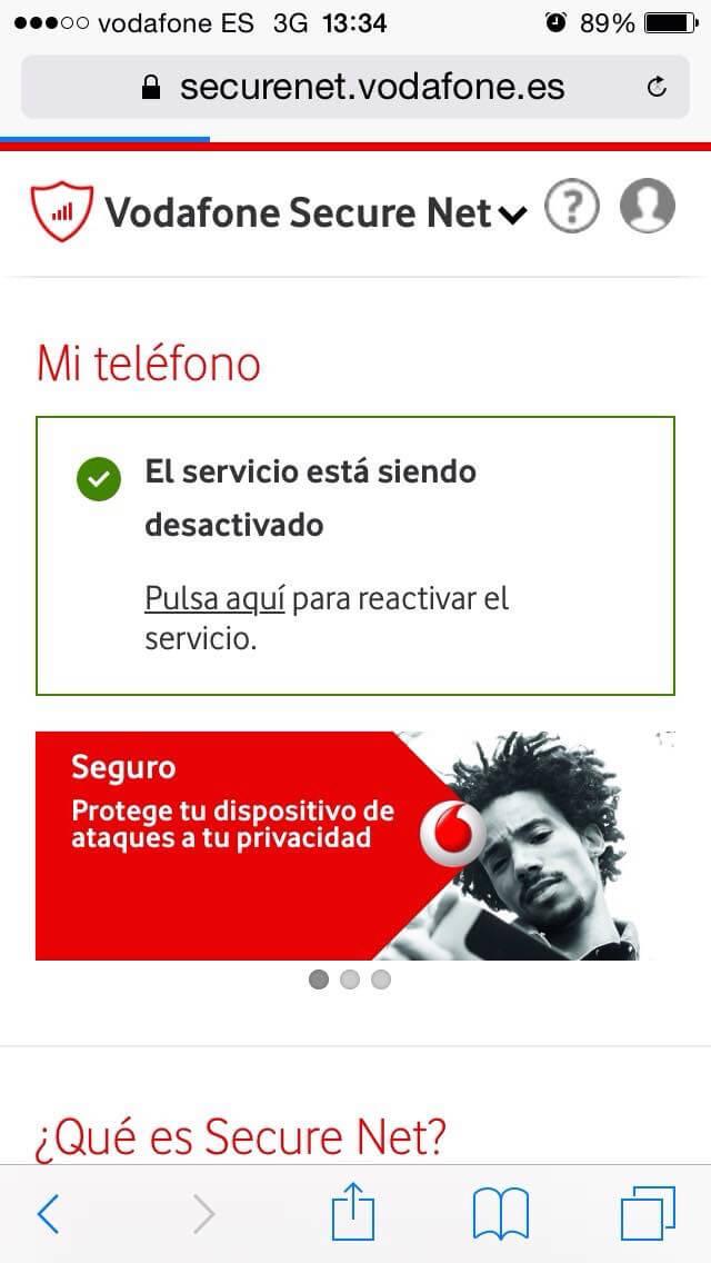 Vodafone Secure Net - Página de confirmación de servicio desactivado