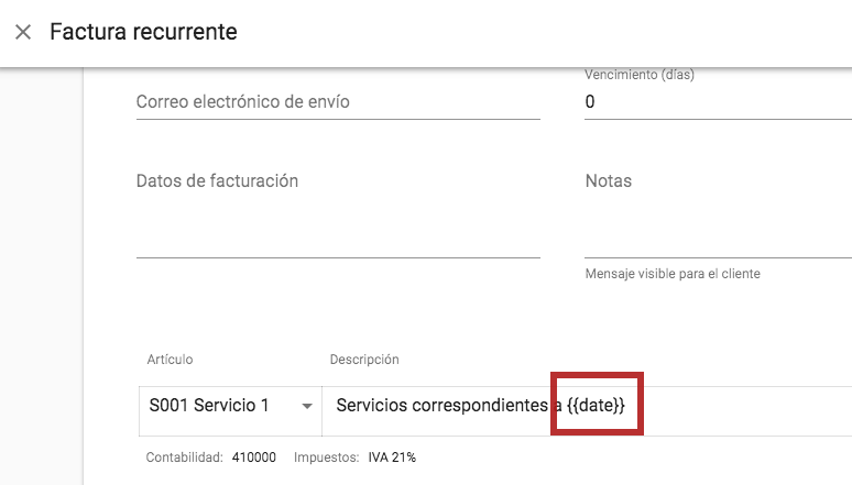 Variables en documentos recurrentes